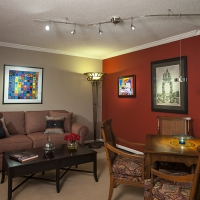 Den with eclectic blend of Traditional & Contemporary elements.